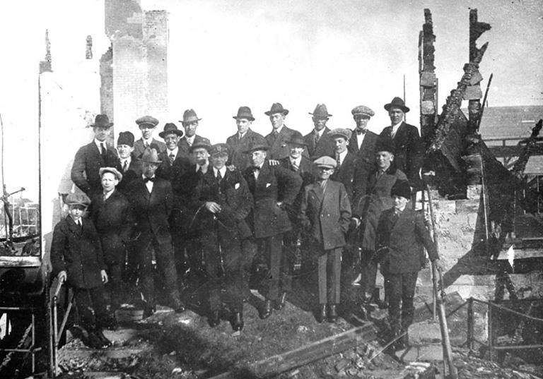 Foto taget strax efter branden i mars 1924.
